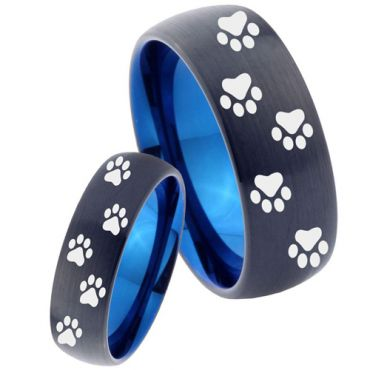 COI Tungsten Carbide Black Blue Paws Print Ring - 4038