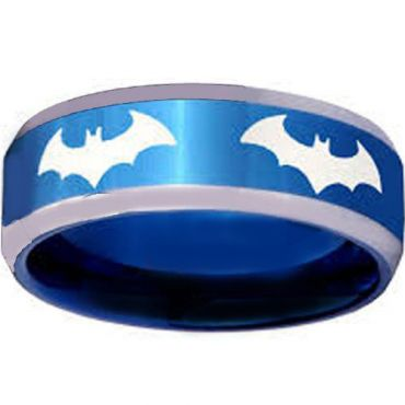 COI Titanium Blue Silver BatMan Beveled Edges Ring-JT4055