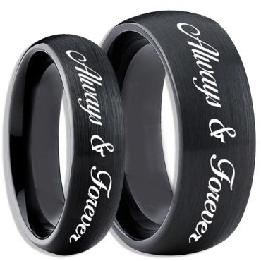 COI Black Tungsten Carbide Always & Forever Dome Court Ring-4083