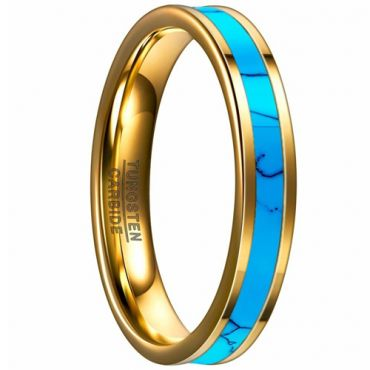 COI Gold Tone Tungsten Carbide Turquoise Pipe Cut Ring-TG4094