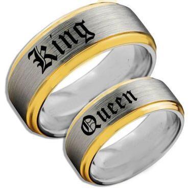 *COI Tungsten Carbide Gold Tone Silver King Queen Ring-TG5149