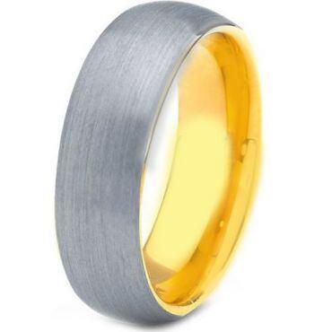 *COI Tungsten Carbide Gold Tone Silver Dome Court Ring - TG4188