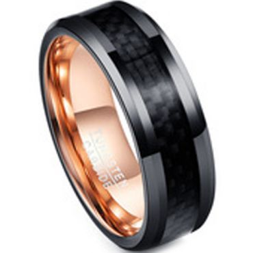 COI Tungsten Carbide Black Rose Ring With Carbon Fiber-TG4221AA