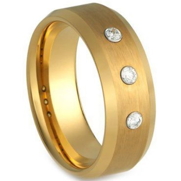COI Gold Tone Tungsten Carbide Ring With Genuine Diamond-TG4229