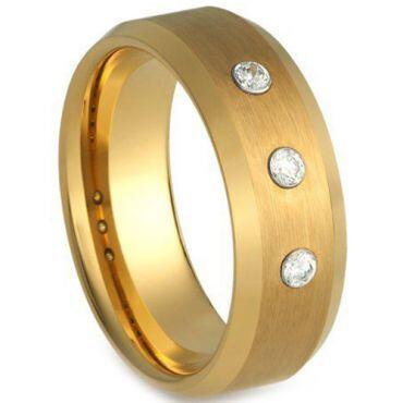 COI Gold Tone Titanium Beveled Edges Genuine Diamond Ring-4229