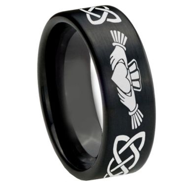 COI Black Tungsten Carbide Mo Anam Cara Celtic Ring-4251