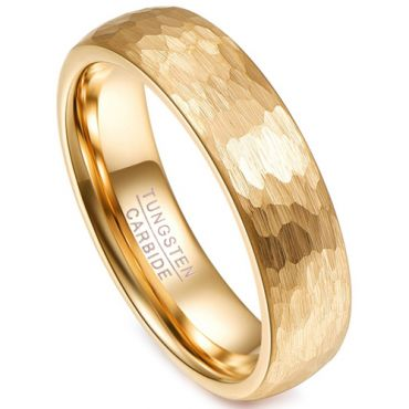 COI Gold Tone Tungsten Carbide Hammered Ring - TG4252