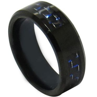 COI Black Tungsten Carbide Signet Ring With Carbon Fiber - TG4312
