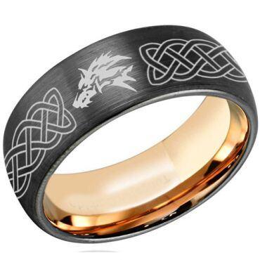 COI Titanium Black Rose Wolf Celtic Dome Court Ring - 4322