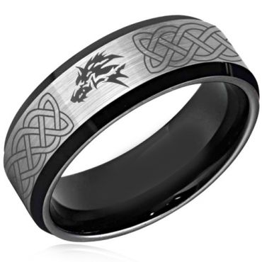 *COI Tungsten Carbide Wolf Celtic Beveled Edges Ring - 4379