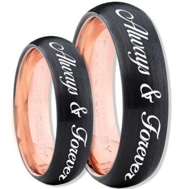 COI Tungsten Carbide Black Rose Always & Forever Ring-TG4396