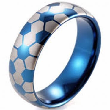 COI Tungsten Carbide Blue Silver Soccer Pattern Ring - TG4418BB