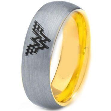 *COI Titanium Gold Tone Silver Wonder Woman Dome Court Ring-4428