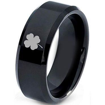 COI Black Tungsten Carbide Clover Beveled Edges Ring-4432