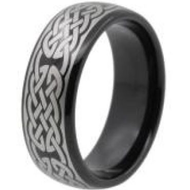 COI Black Tungsten Carbide Celtic Dome Court Ring-TG4448