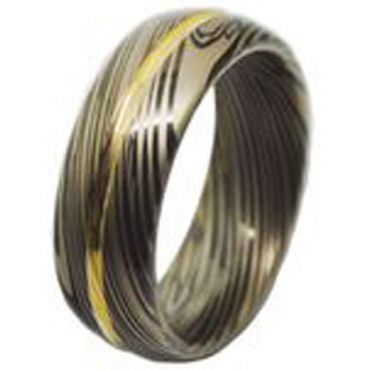 COI Tungsten Carbide Black Gold Tone Damascus Ring-TG4460
