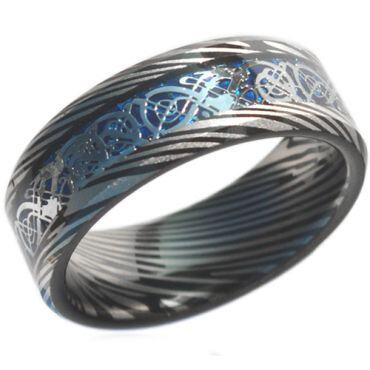 COI Black Tungsten Carbide Dragon Damascus Ring-TG4472