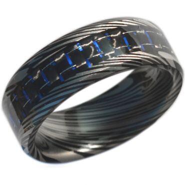COI Black Tungsten Carbide Damascus Carbon Fiber Ring-TG4473