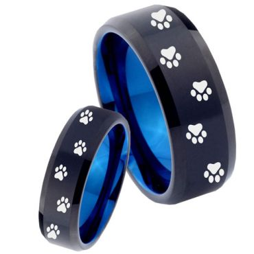 COI Tungsten Carbide Black Blue Paws Track Ring - 4480