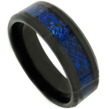 COI Tungsten Carbide Black Blue Dragon Ring - TG4487
