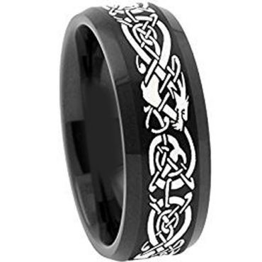COI Black Titanium Dragon Beveled Edges Ring-4488AA