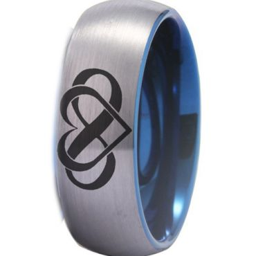 *COI Titanium Blue Silver Infinity Heart Dome Court Ring-4489
