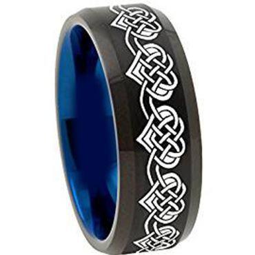 COI Titanium Black Blue Heart Dome Court Ring - 4492