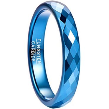 COI Blue Tungsten Carbide Faceted Ring - TG4493