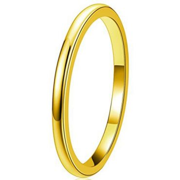 COI Gold Tone Titanium Dome Court Wedding Band Ring - JT3716