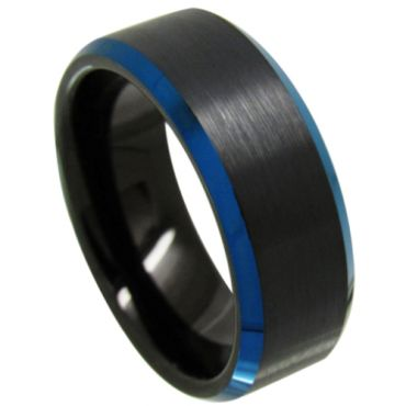 COI Tungsten Carbide Black Blue Beveled Edges Ring-3718