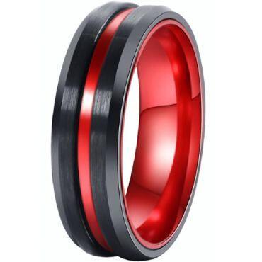 *COI Titanium Black Red Center Groove Beveled Edges Ring-001AA