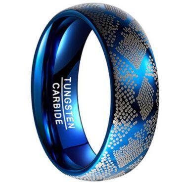 COI Blue Tungsten Carbide Laser Pattern Ring - TG4531
