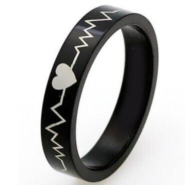 COI Black Tungsten Carbide Heartbeat & Heart Ring - 4568