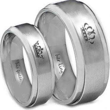 *COI Tungsten Carbide King Queen Crown Step Edges Ring - TG4582