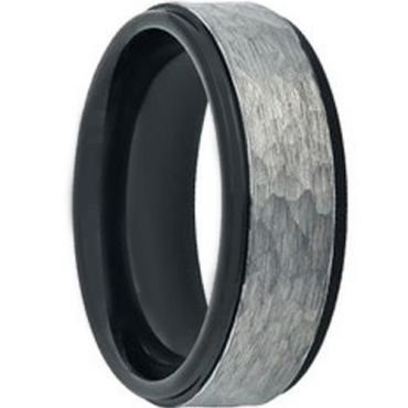 COI Tungsten Carbide Black Silver Hammered Ring - TG4598