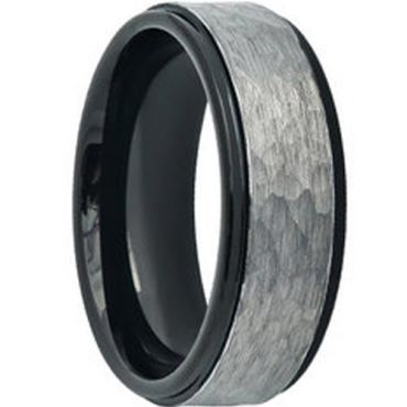 COI Tungsten Carbide Black Silver Hammered Ring - TG4598