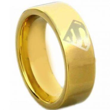 *COI Gold Tone Titanium Superman Pipe Cut Flat Ring - 4612