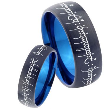 COI Tungsten Carbide Black Blue Lord of The Ring Ring-4622