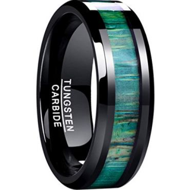 COI Black Tungsten Carbide Green Wood Ring-TG4632