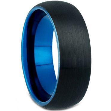 *COI Tungsten Carbide Black Blue Dome Court Ring - TG4637