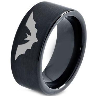 COI Black Tungsten Carbide Bat Pipe Cut Flat Ring - TG4661C