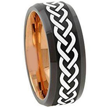 COI Titanium Black Rose Celtic Beveled Edges Ring - 4664