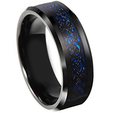 COI Titanium Black Blue Dragon Beveled Edges Ring-JT3354