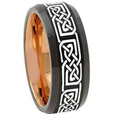 COI Titanium Black Rose Celtic Beveled Edges Ring - 4672