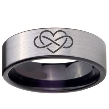 *COI Tungsten Carbide Infinity Heart Pipe Cut Flat Ring-TG4675
