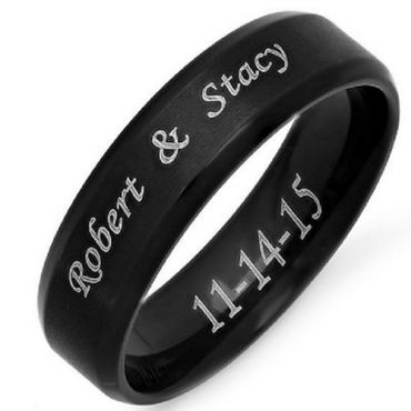 COI Black Tungsten Carbide Ring With Custom Engraving-4686