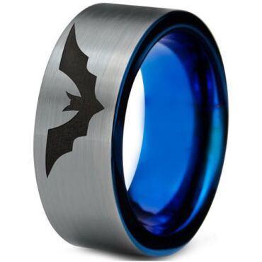*COI Tungsten Carbide Blue Silver Bat Pipe Cut Ring - TG4698