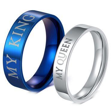 *COI Titanium Blue/Silver King Queen Pipe Cut Flat Ring-JT4024