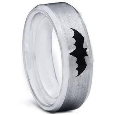 *COI Tungsten Carbide Batman Beveled Edges Ring-TG5001