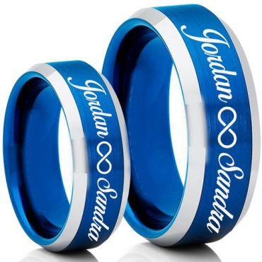 COI Tungsten Carbide Blue Silver Ring With Custom Engraving-5007